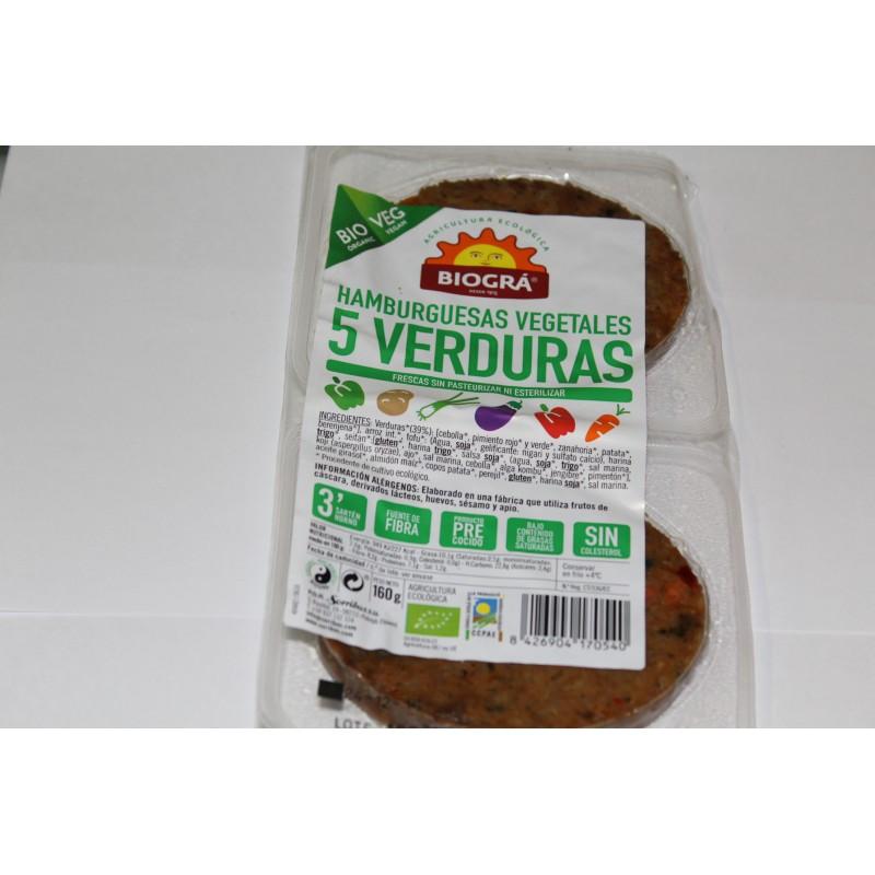 Hamburgesas vegetales 5 verduras 160 gr. Biográ