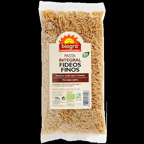 Fideos finos pasta integral 250 gr. Biográ