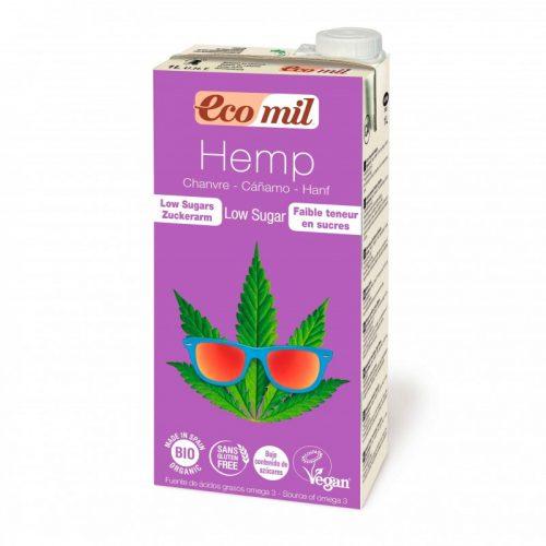 Bebida vegetal de cáñamo bajo contenido de azúcar, sin gluten, sin lactosa bio 1L. Ecomil
