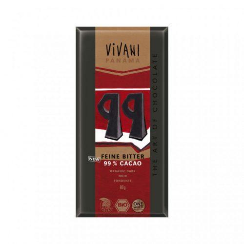 Chocolate negro ecológico 99 % cacao 80 gr. Vivani Panama