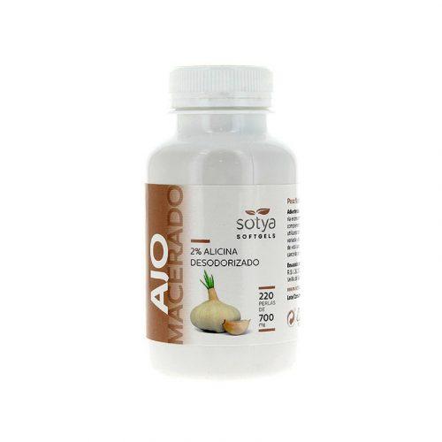 Ajo macerado desodorizado 2% alicina 220 perlas 700 mg. Sotya