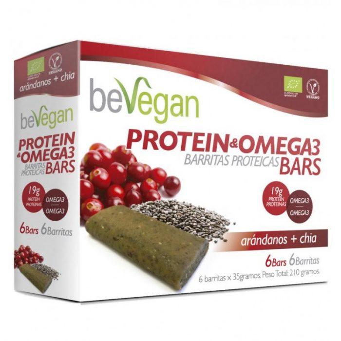 Barritas arándanos y chía proteínas antioxidantes 220 gr. Bevegan