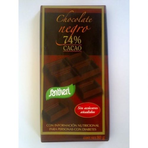 Chocolate negro 74 % cacao 8 gr. Santiveri