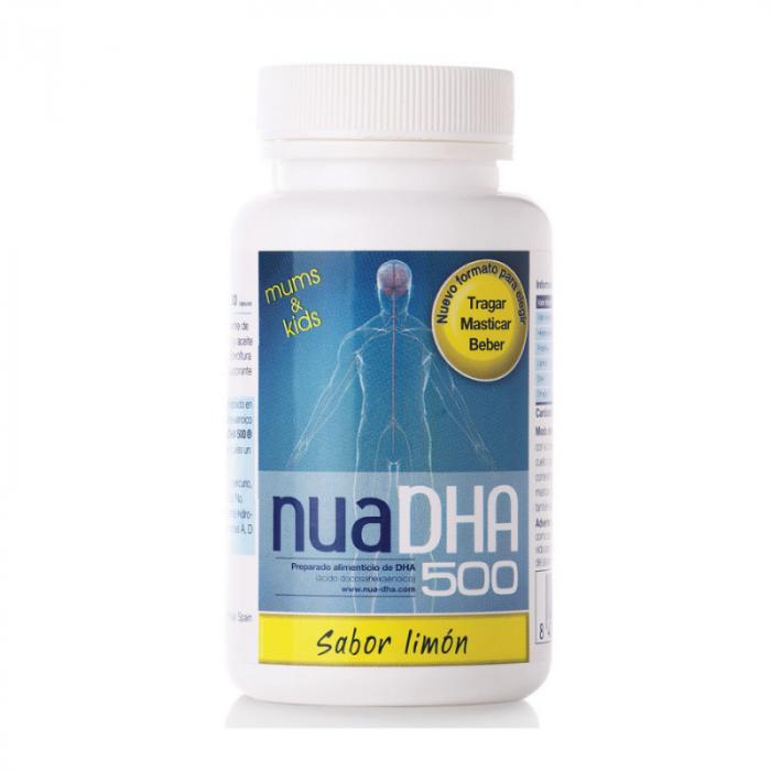 Nua DHA 500 sabor limón 30 cápsulas de 500 mg. Nua