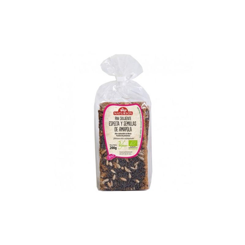 Pan crujiente de espelta y semillas de amapola bio 200 gr. Natursoy