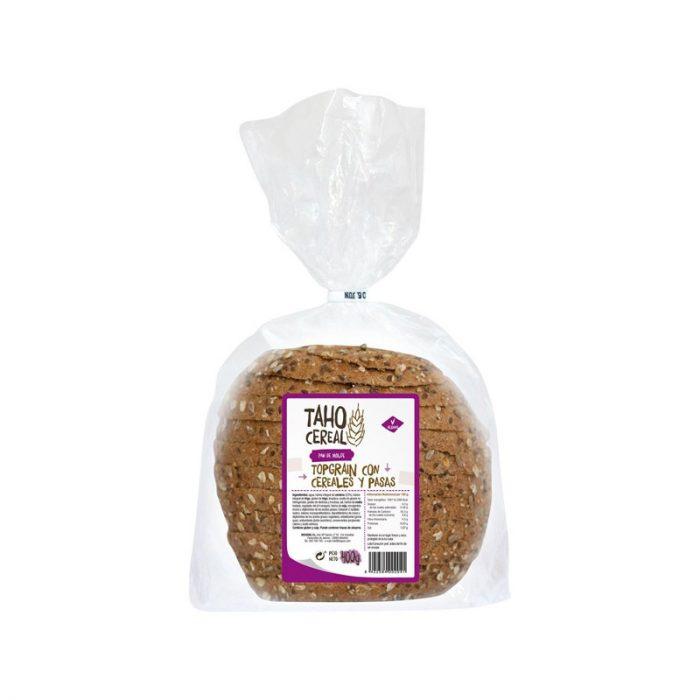 Pan de molde cereales y pasas top grain 400 gr. Taho Cereal