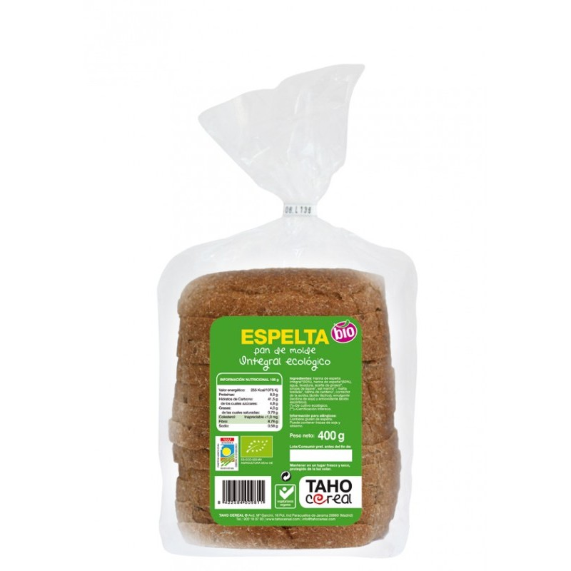 Pan de molde de espelta bio 400 gr. Taho Cereal