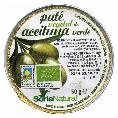 Paté vegetal de aceituna verde ecológico 50 gr. Soria Natural