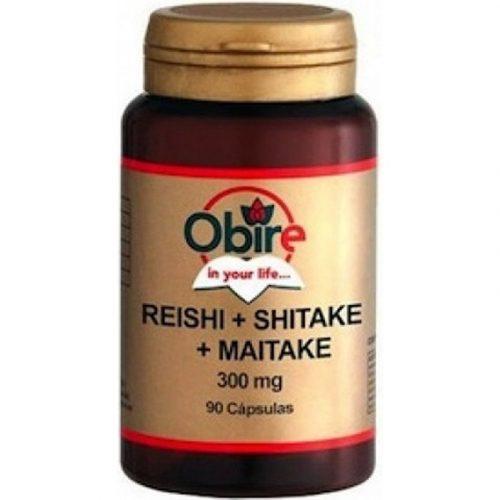 Reishi + Shitake + Maitake 90 cápsulas 300 mg. Obire
