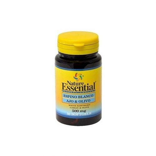 Espino blanco, ajo y olivo 500 mg. 50 perlas. Nature Essential