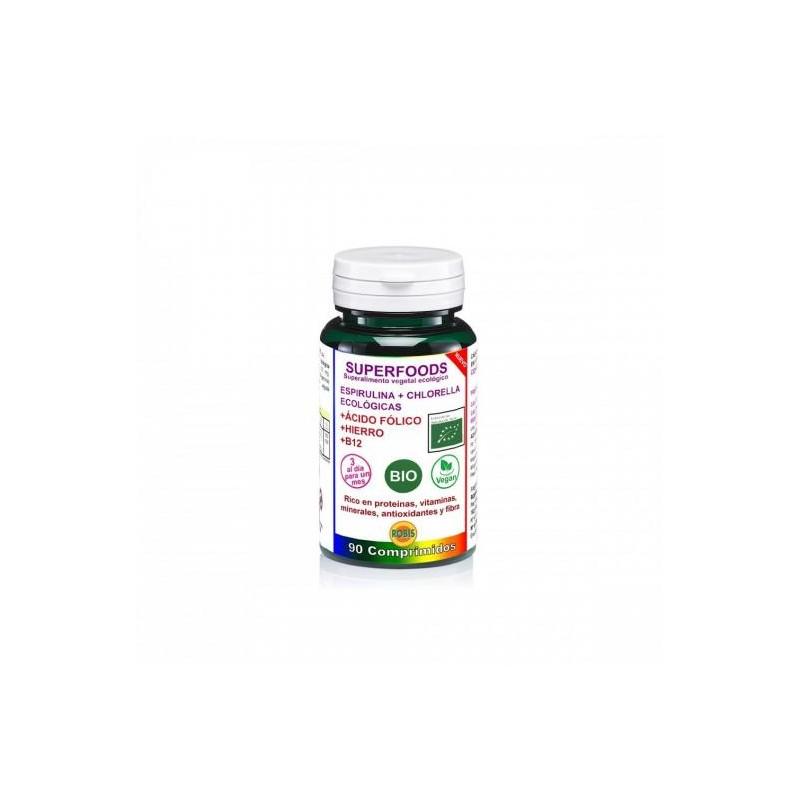 Espirulina + chlorella + ácido fólico + hierro + vitamina B12 90 comprimidos. Robis