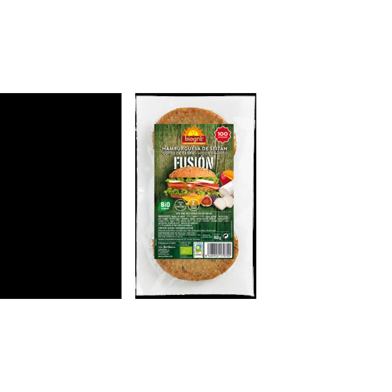 Hamburguesa vegetal de queso de cabra, mango e higos fusión 160 gr. Biográ
